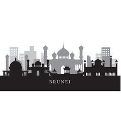 brunei landmarks skyline in black and white vector image vector image