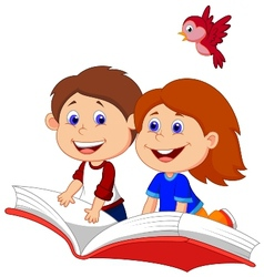 Cartoon Boy and girl flying on a book vector image
