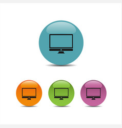 computer icon on colored buttons vector image vector image