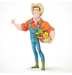Cute young guy farmer with a big basket of vector image vector image