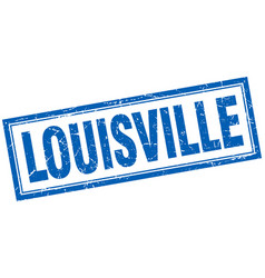 Louisville blue square grunge stamp on white vector
