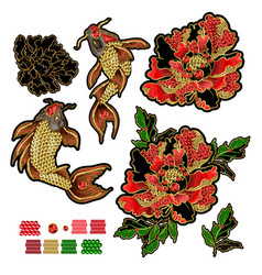 set of patches with embroidery of koi carp vector image
