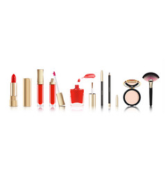 beautiful cosmetic set in gold lipstick lip vector image