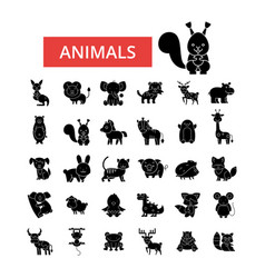 cute animals thin line icons linear vector image vector image
