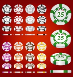 gambling chips set vector image vector image
