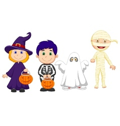 Happy Halloween party with children trick or treat vector image vector image