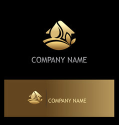 house ecology environment water gold logo vector image