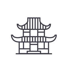 pagoda line icon sign on vector image