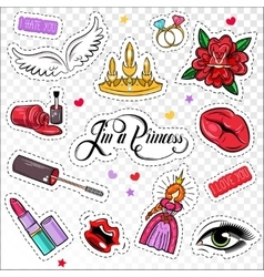 Princess Comic Patches Set vector image
