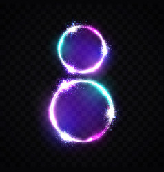 two neon glowing circles bright banner for 8 march vector image vector image