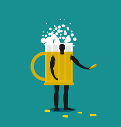 mug of beer mascot man promoter male in suit vector image