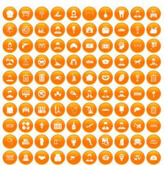 100 favorite work icons set orange vector