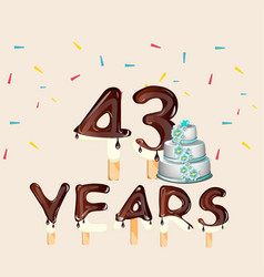 43 years happy birthday card vector