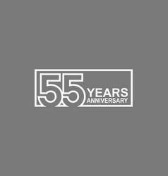 55 years anniversary logotype with white color vector