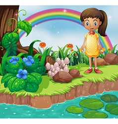 A small girl at the riverbank with mushrooms vector