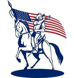 American cavalry soldier riding horse bugle vector