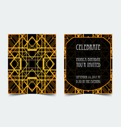 Art deco vintage invitation template design vector