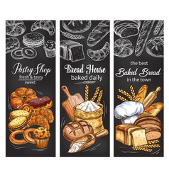 Bakery and pastry shop banner with bread and bun vector