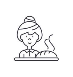 baking bread line icon concept baking bread vector image