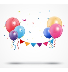 Balloon with confetti and birthday bunting flags vector