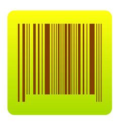bar code sign brown icon at green-yellow vector image