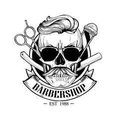 Barbershop logo angry sticker with skull vector