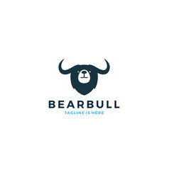 bear bull head face logo icon template vector image