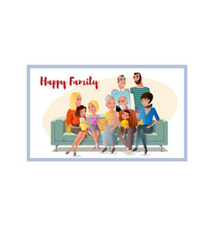 Big happy family gathering together at home vector