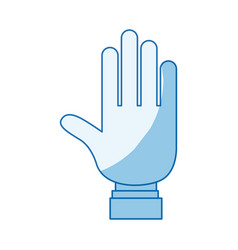 Blue color shading silhouette open hand palm with vector