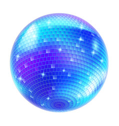 blue disco ball on white background for design vector image