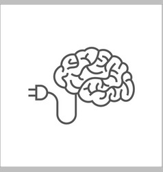 Brain logo silhouette design template ai vector
