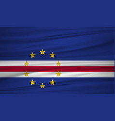 Cape verde flag flag of cape verde blowig in the vector