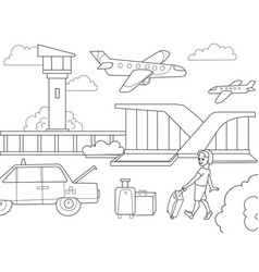 cartoon children coloring book airport black and vector image