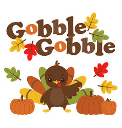cartoon turkey gobble vector image