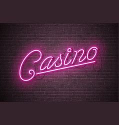Casino neon sign on brick wall vector