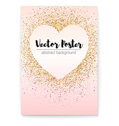 chic sparkle poster with gold sequins in shape vector image