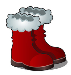 christmas cartoon red boots of santa claus vector image