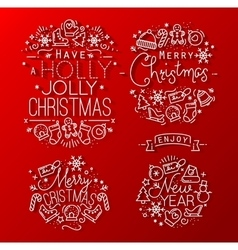 Christmas decorative red vector image