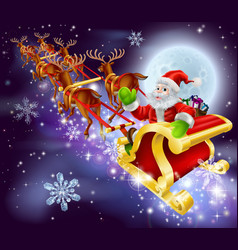 Christmas santa flying in his sled or sleigh vector