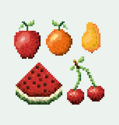 Color pixelated set collection fruits icons vector