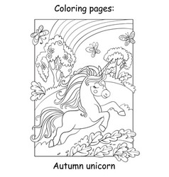 Coloring book page running unicorn in forest vector