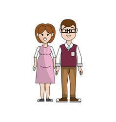 Couple man with glasses and woman pregnant vector