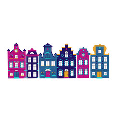 cute card with traditional houses collection of vector image