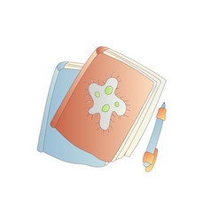 cute cartoon book notebook diary and vector image