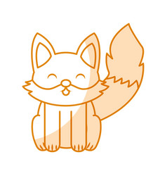 cute shadow fox cartoon vector image vector image
