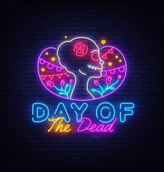 Day dead neon sign dia de los vector