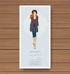 December Hand drawn fashion models calendar 2016 vector
