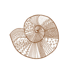 decorative brown line shell in zentangle style vector image