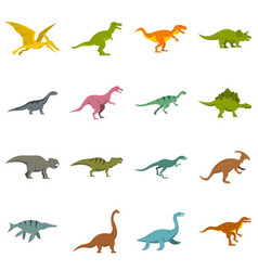 Dinosaur icons set in flat style vector