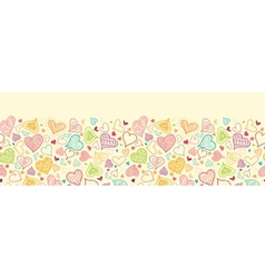 Doodle Hearts Horizontal Seamless Pattern vector image